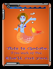 This is Goldie. She's a mermaid. She'll cut you. Now on iPad covers Goldie the mermaid. IF you touch my iPad she'll cut you Keywords: goldie mermaid tablet ipad cut  she will shell she'll blue gold fish goldfish mermaid