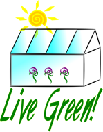 Live Green Greenhouse with sunshine and flowers Keywords: live green greenhouse