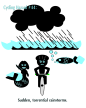 torrential rain while bicycling Keywords: Cycling hazards 44 torrential rain bicycling