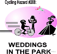 Cycling Hazard - Weddings in the park, bride, run over, groom, screaming bouquet Keywords: Cycling Hazard  Weddings park bride groom screaming bouquet